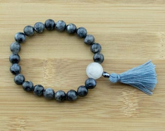 Black Labradorite Wrist Mala Bracelet with Tourmilated Quartz Crystal | 8mm | Yoga Jewelry | Buddhist Meditation Bracelet | Free Shipping