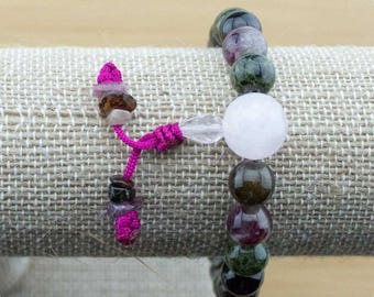 Multi-Colored Tourmaline Wrist Mala Bracelet with Rose Quartz   8mm   Yoga Jewelry   Meditation Bracelet   Buddhist Bracelet   Free Shipping