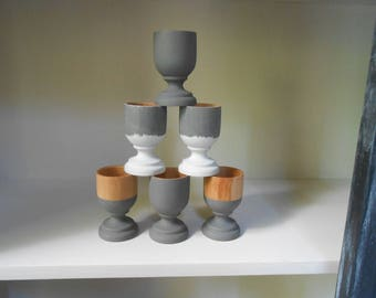 6 eco design hand painted wooden egg cups. By 6