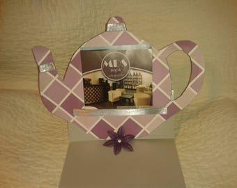 Menu tent card hand made teapot shaped door