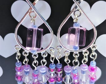 Figure 8 Pink and Purple Chandelier Earrings