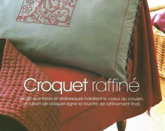 Embroidery pattern for blue croquet cushion