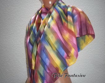 Silk scarf, scarf with satin stripes, hand-painted silk scarf, Rainbow cloth, colorful silk scarf