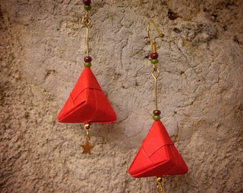 Triangle origami Orange beads - earrings Structure Gold