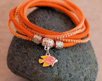 Wrap bracelet made of nappa and suede-orange