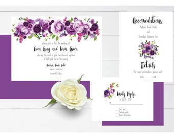 Ultra violet wedding floral invitation wedding invitation wedding invite with rsvp suite printable invitation download watercolor invite
