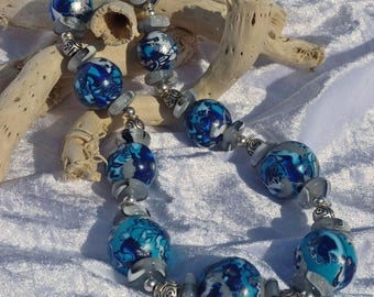 Metallic polymer clay earthenware necklace