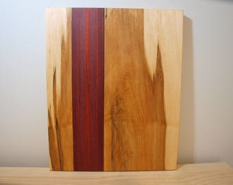 The Kian Board - Cutting Board - Made from Maple with stripes of Paduk and Purpleheart