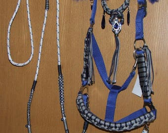 Refined show Halter, set, braided, with reins e. t. Silver, Tasseln, jewelry, horse, pony braided, Royal Blue,