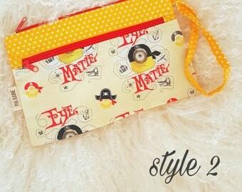 Yellow Zipper Pouch, Minion Zipper pouch, Double zipper pouch, cute zipper pouch, cosmetics case, pencil case, teachers gift, birthday gift