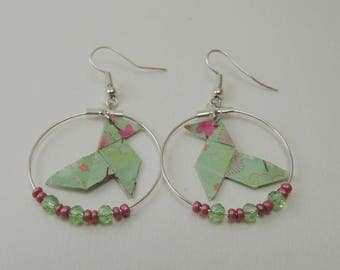 "Origami earrings ""Cocotte green flower"" Rose"