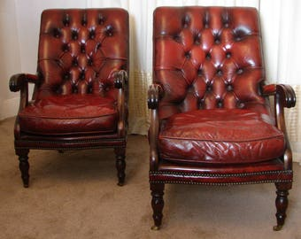 Pair Leather Chesterfield Armchairs MILLBROOK (Courier)
