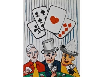 Three Card Players (Original Lithograph) by Alexander Calder (c. 1975)