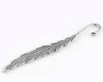 Bookmark feather 11.7 cm metal silver
