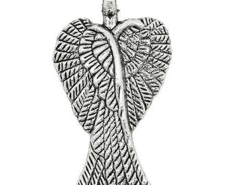 set of 4 silver-plated 29x16mm wings charms