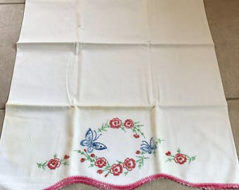 Hand Embroidered Butterfly Pillowcase 1950s