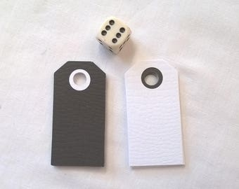 20 tags 10 10 white black textured cardstock