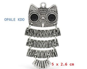 Hinged metal OWL pendant Silver 5 x 2.6 cm