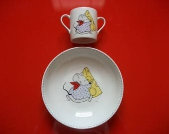 """Plate and glass customizable child in Limoges porcelain: """"Mouse and his Swiss cheese"""""""