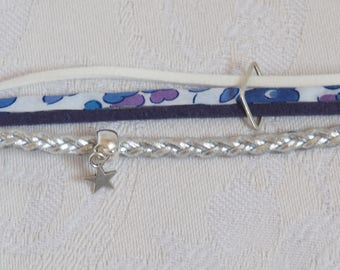 Bracelet Blue Suede and liberty