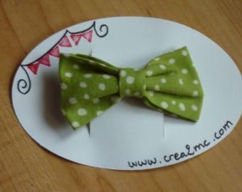 Hair bow green white polka dots