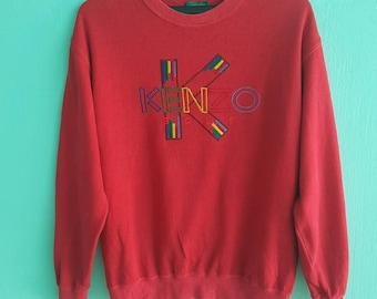 Vintage Kenzo golf Sweatshirt Spellout Big Logo Embroidery red colour
