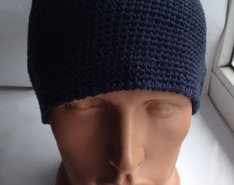 Men's Caps Men's knit cap Men's beanie hat Knit hats for men Blue beanie hat Hand knit hat