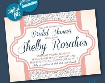 Elegant Floral Bridal Shower Invitation