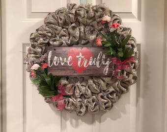 Love Truly Burlap Wreath