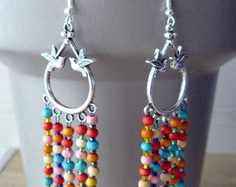 Bohemian earrings, multicolor