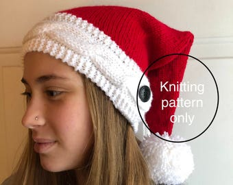 Cabled Band Santa Hat (PATTERN ONLY)