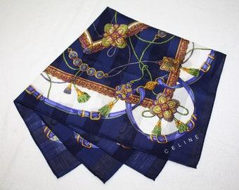 Celine Navy Blue Striped Design Handkerchief
