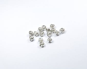 PE231 - 15 beads flat pink set in silver