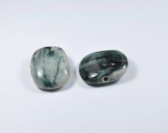PE161 - Set of 2 ceramic beads grey