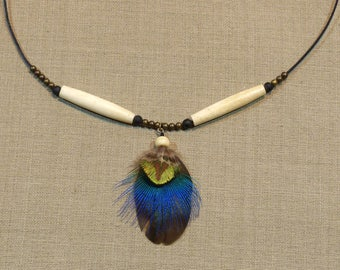 Ethnic necklace, handmade with natural peacock feathers
