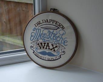 Dr Dapper Moustache Wax embroidery
