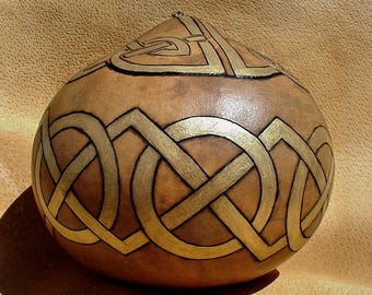 Celtic Knot Hand Carved Gourd