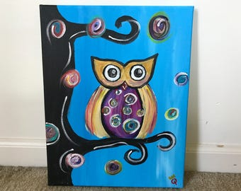 Acrylic Whimsical Owl at Night on Canvas