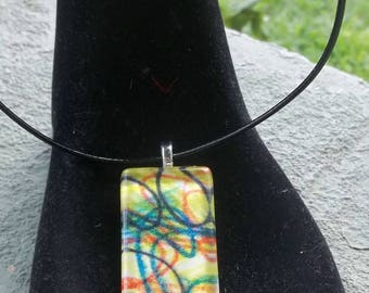 hand painted watercolor wearable art glass pendant necklace #7