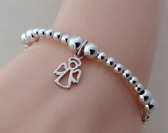 Angel Charm Bracelet,  Sterling Silver AngelBracelet, Silver Stacking Bracelet, Beaded Bracelet, Gift for Girls