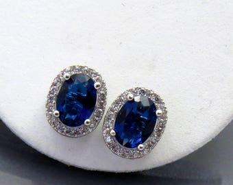 Sapphire Blue Bridal Earrings, Blue Earrings, Dark Blue Earring, Bridesmaid Earrings, Blue Wedding Jewelry, Sapphire Bridal Stud Earrings