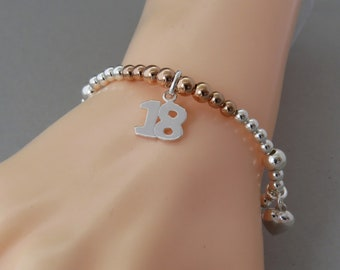 18th Birthday Charm Bracelet, 18 Charm with Heart and Star Charms, Silver Beaded Bracelet, Gift for 18th