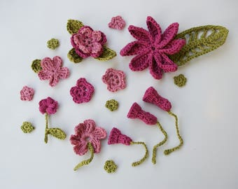 Decorative pink and purple crochet flowers