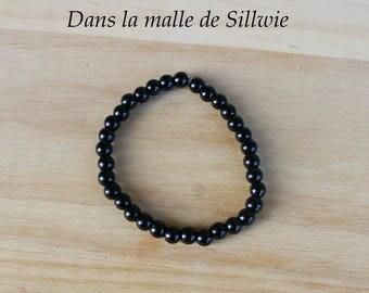 Black Glass Pearl Beads Bracelet