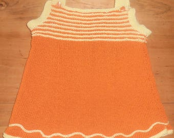 spring summer 70's 12 months in orange and yellow cotton dress