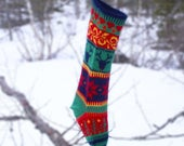 Personalized Christmas Stocking, Wool Yarn, Hand Knitted, Norwegian Design, Scandinavian, Holiday Ornament, Fair Isle Pattern, Nordic knit