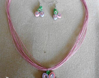 Set made with quilling necklace and earrings pastel earrings