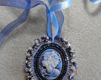Blue cameo pendant embroidered embroidery) in shades of blue
