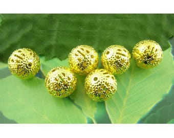 x 6 gold metal beads filigree 12mm