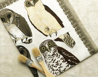 AUSTRALIAN OWLS linen tea towel